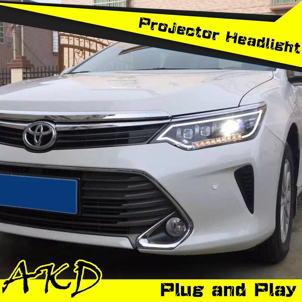 AKD Car Styling Toyota Camry V55 LED Headlight 2015 New Camry Headlights LED Head Lamp Projector Bi Xenon Hid H7