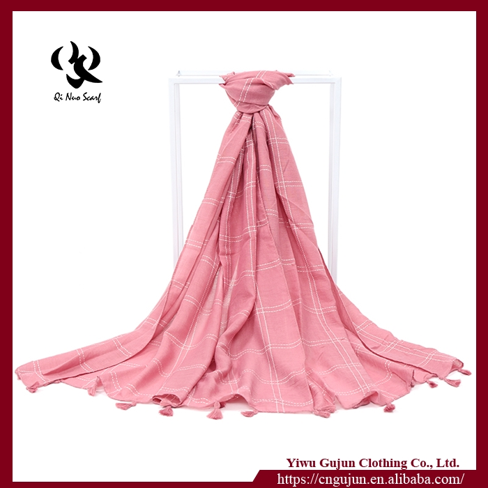 Hot selling long square fringe tassel beach scarf and shawl cotton
