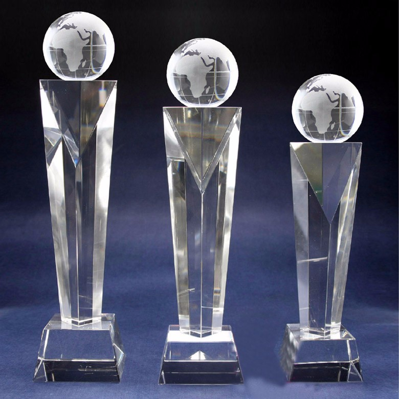 A great variety of goods crystal globe trophy made in China supplier
