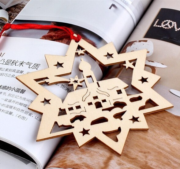 Christmas Decoration Laser Cut Wood Ornaments,Christmas tree ornaments wood Handcrafted in China