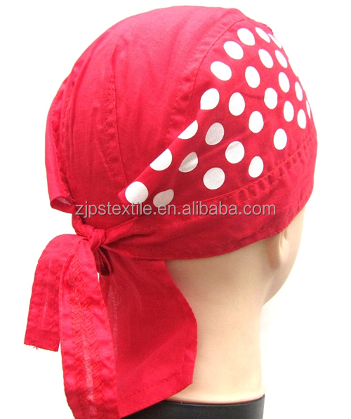 chef cap cook hat skull bandana headwear wholesale durag cap breathable hip-hop kerchief doorag head scarf with back flaps