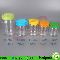 Commercial Transparent Plastic PET Bamboo Food Container with Screw Cap