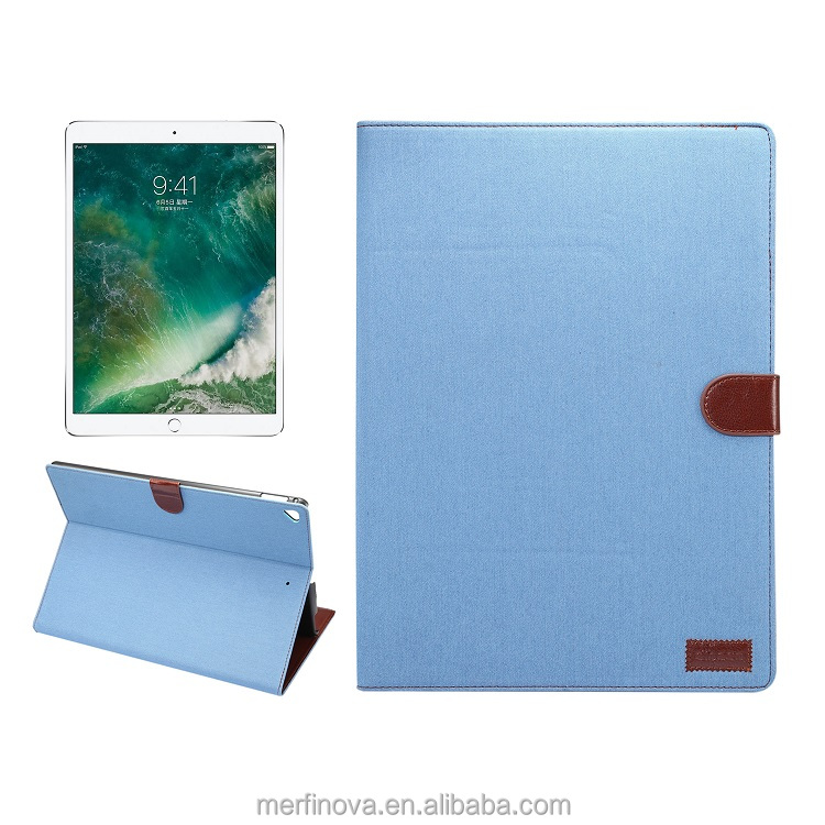 Mobile accessories denim jean flip case with card holder stand case for ipad pro 12.9