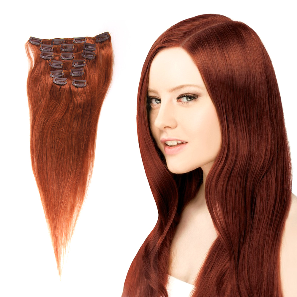 Brazilian Remy Clip In Hair  Extensions #33 Dark Auburn 100% Human Remy Hair Clip Ins 70g/7pcs/set Crazyqueen Hair Products