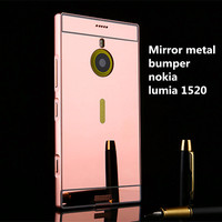 luxury phone case aluminum metal eletroplated mirror bumper back cover for nokia lumia 1520
