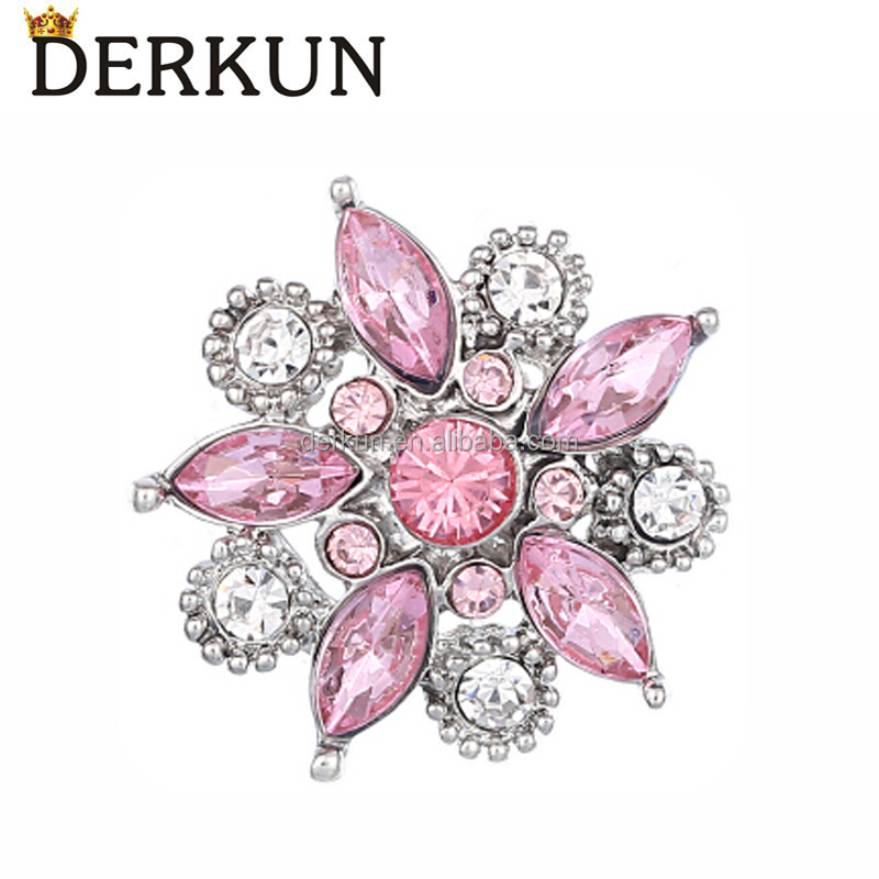 Pink Luxury Crystal Snap Button Jewelry 18mm Flower Snaps on Leather Bracelet
