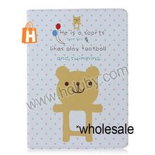 Lovely Smiling Bear Pattern Flip Stand Leather Case for iPad Air