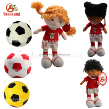 Toy Supplier Plush Soccer Ball Mini Football Player Toy Stuffed Soft Toy