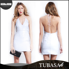 Hot Sale Backless Simple Design One Piece Party Dress