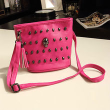 studded metal leather skull bag