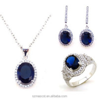 Fashion Royal Blue CZ Stone Indian Wedding Jewelry Set Hot Sale