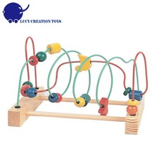 Colorful Classical Educational Toys Large Metal Wire Wooden Bead Maze
