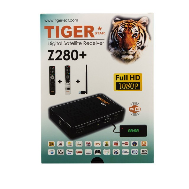 Tiger star digital <strong>satellite</strong> receiver Z280+ DVB-S2 Full HD 1080P support one year iptv