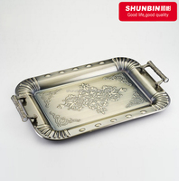 SZB-01 bronze metal stainless steel 3pcs square flower serving tray