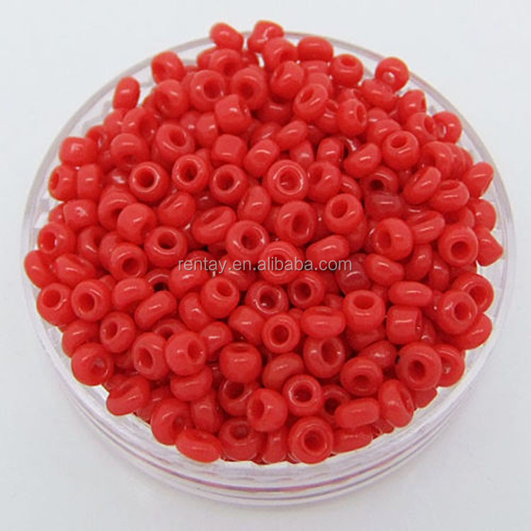 Hot Sale 4MM Mini Round Red Color Opaque Glass Seed Beads Bulk