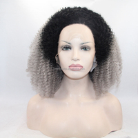 In stock afro kinky curly wigs for black women glueless lace front wig for african americn dark root grey synthetic hair wigs