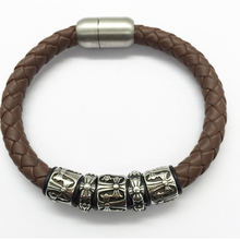 good quality cheap price fashion wholesale leather jewelry men steal bracelet