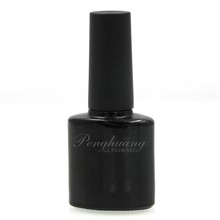 hot sale empty round black bottle for nail polish gel 12ml glass packaging with uv gold cap