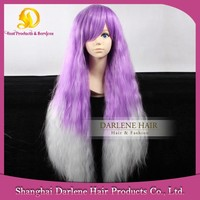 YSW15 Heat Resistant Synthetic Hair Harajuku Style Long Fluffy Wavy Violet / White Ombre Wigs