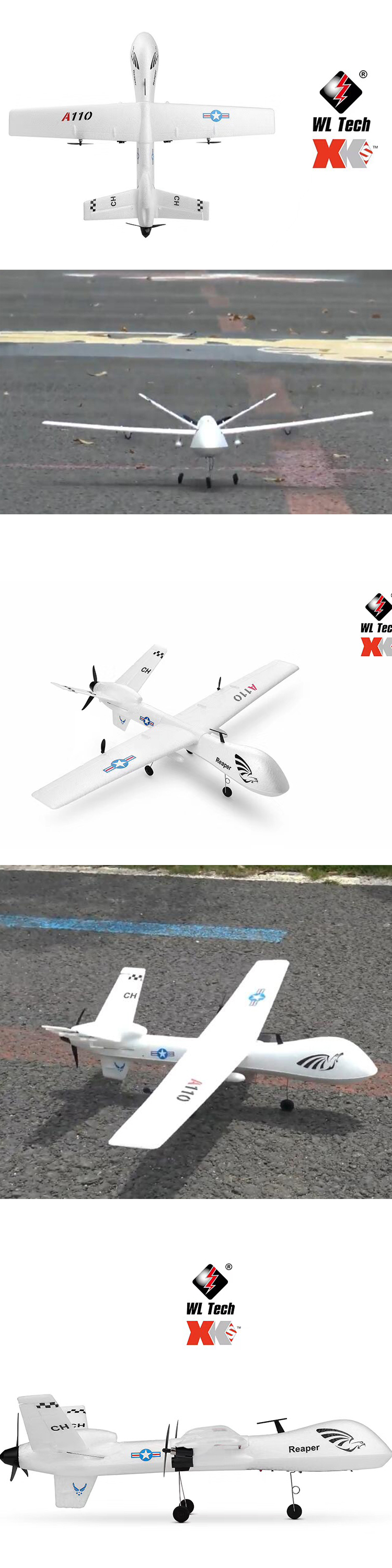 WL Toys XK A110 3CH Simulation Impact resistant MQ-9 Military Aviation Model Predator RC Helicopter For Kid Christmas Gift