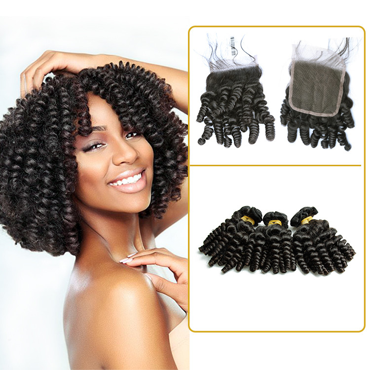 Different types of curly weave girl virgin malaysian closure with baby curl human hair