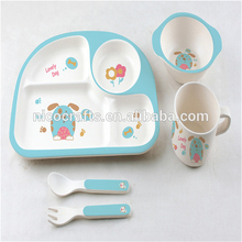 Wholesale 5 piece bamboo fiber kids and kids melamine tableware sets