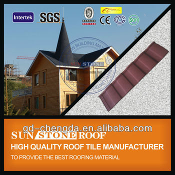 Roman Style Waterproof colorful stone coated metal roof tiles