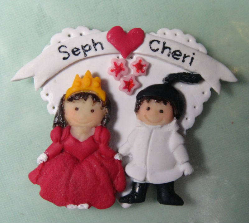 Wedding favor refrigerator magnet Princess & Knight on a heart panel
