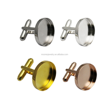 20mm sterling silver round bezel base cufflink findings gold man's bezel tray cufflink and tie pin set
