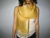 Laos Silk Sheer Organza Scarf / Shawl w Tassels - Yellow and Gold