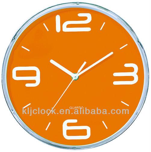 f rderung wanduhr wh 6783 orange zifferblatt wei h nde. Black Bedroom Furniture Sets. Home Design Ideas