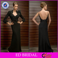 2014 Modern Black Sexy Mother Of The Bride Lace Dresses Long Skirt And Jacket