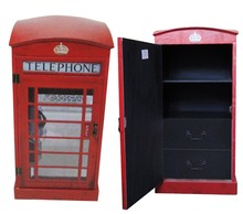 London phone booth design Leather decorative wooden cabinet