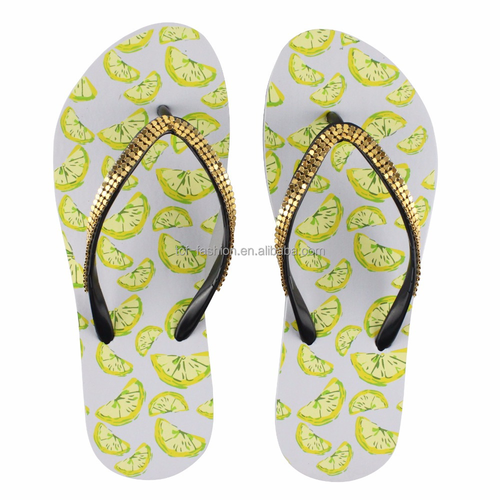Ladies' pvc lemon print strap with gold studs beach flip flops