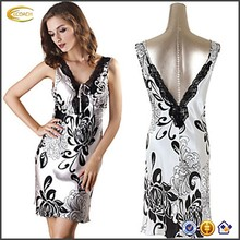 Ecoach Wholesale OEM Ladies Sleeveless Sexy Transparent Lace-Trimmed Low-Cut Sliver Printed Chinese Nightwear