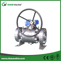 Forged steel 3pc gear operated flange ends metal seat trunnion ball valve