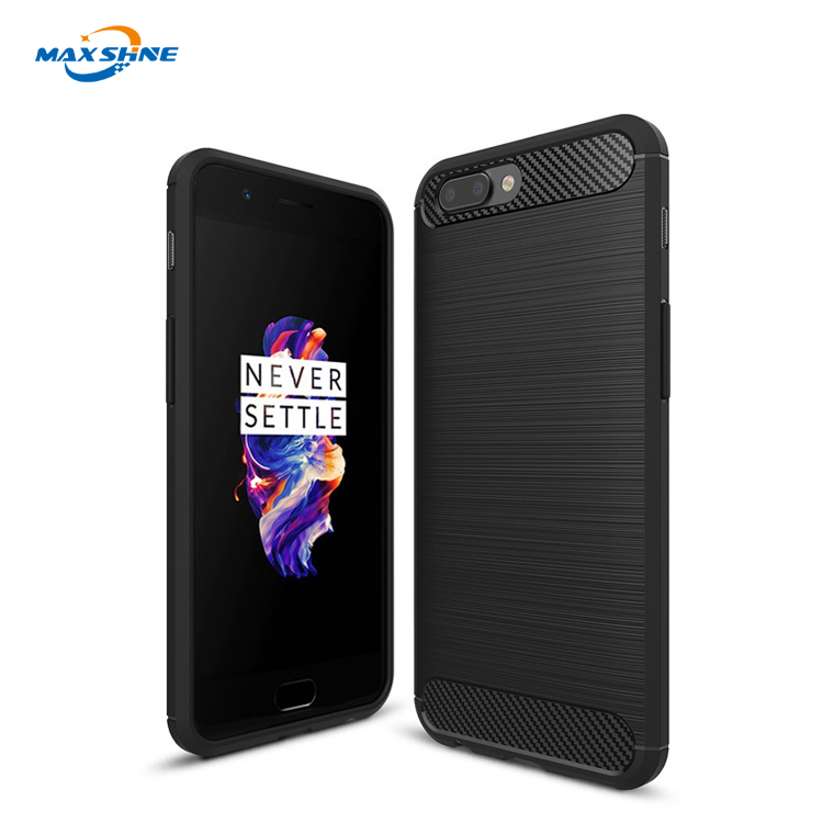 Black carbon fiber phone case for oneplus 5 soft case