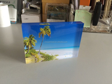 acrylic photo block with graphic on the back side