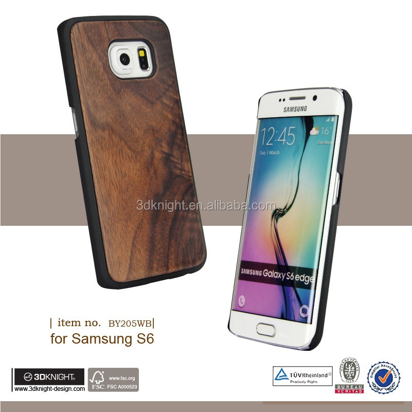 Wooden Shockproof Bamboo Custom Case For Samsung S6 PC Wood Phone Case