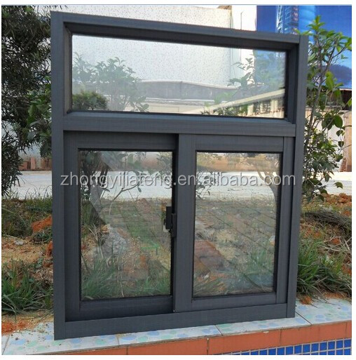 cheap price sliding opening aluminum glass window with mosquite screen