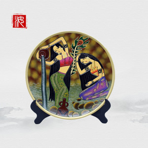 Wholesale pottery hand-painted disc youth Yi girls for home office decoration living room wine cabinets ornaments pottery crafts