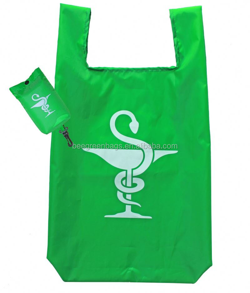 Wholesale Supermarket nylon foldable shopper bag with plastic buckle pouch