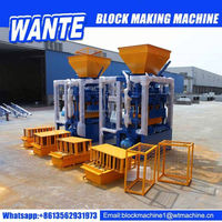 WANTE BRAND QT4-24 color concrete paver hollow block making machine for construction in Tunis