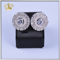 charm silver plated brass plated crystal earring rhinestone diamond beautiful earring designs