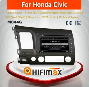HIFIMAX Android 4.4.4 touch screen car dvd player for Honda CIVIC gps navigation bluetooth car kit for honda civic