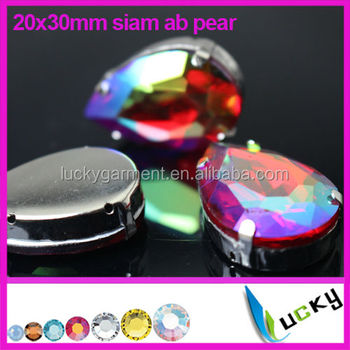 Wholesale high quality siam ab stones crystal material with settings for jewelry making