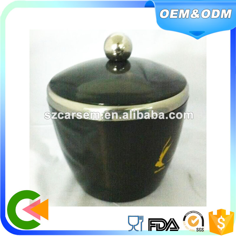 Latest technology plastic stainless steel ice bucket coolers black color with lid