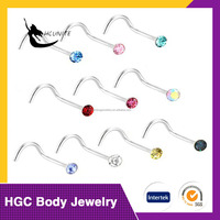 Stainless Steel Crystals Nose Studs Rings Bone Bar Pin Piercing Jewelry,quality nose studs 18 unique rings Surgical Steel bones