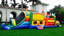 inflatable slide the bouncer for children play, inflatable bouncer slide with obstacle for adults