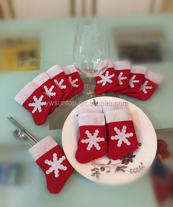 2016 lovely christmas theme knife and fork bags